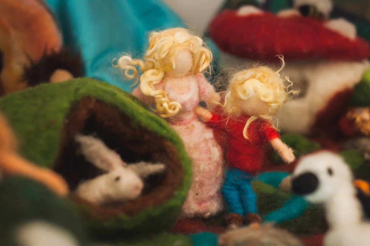A Felted Hansel And Gretel Lost In a Felted Wood, At Castle Of Costa Mesa