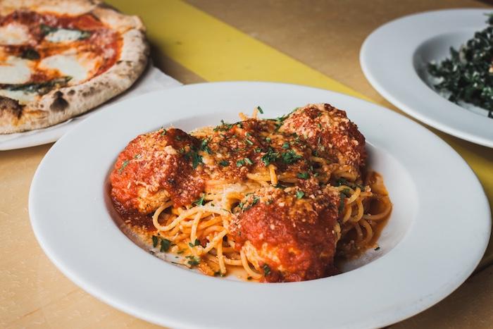 I Heart Costa Mesa, Pitfire Pizza, Spaghetti and Meatballs, Pasta, Lunch, Dinner