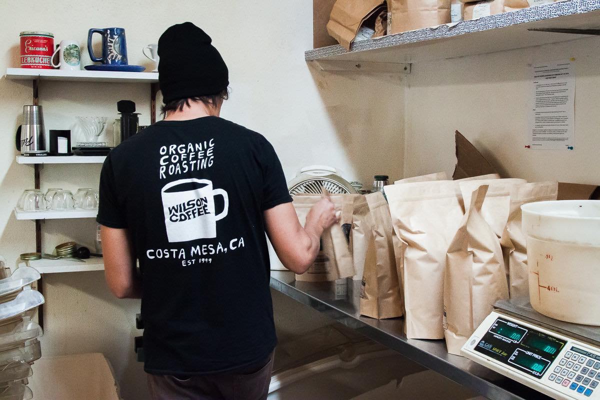 Levi Tovar Roasting Coffee at Wilson Coffee in Costa Mesa, California