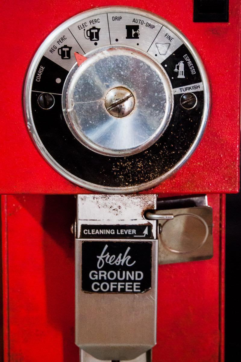 Red coffee-bean grinder at Wilson Coffee in Westside Costa Mesa, California.