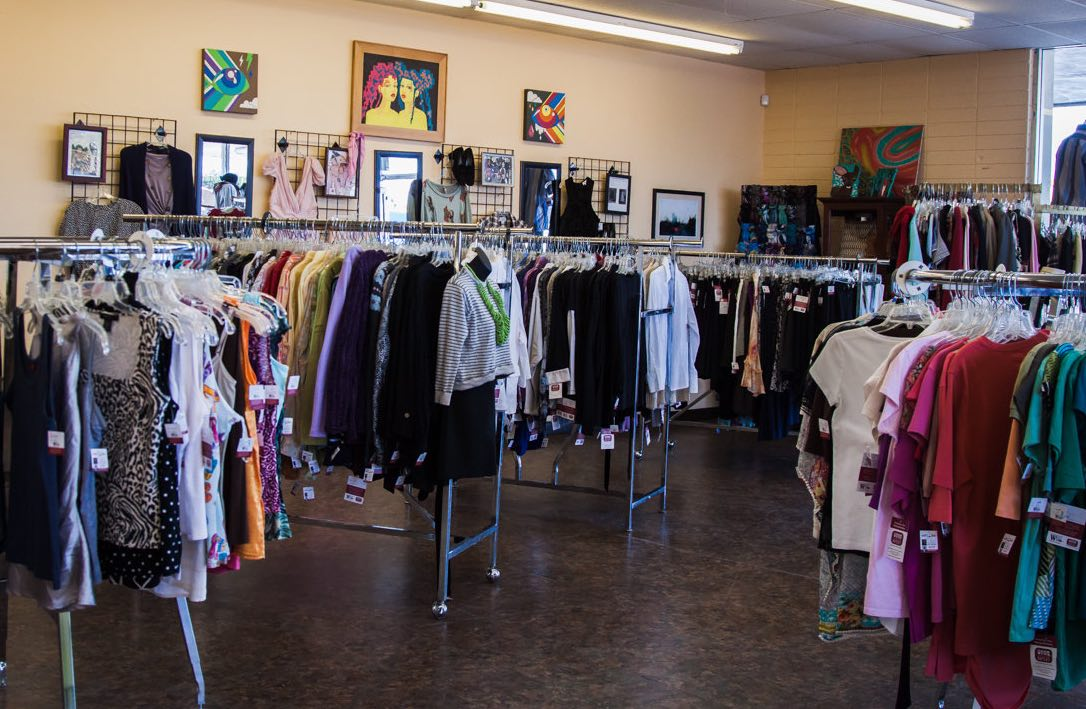 Racks and racks of clothing at Working Wardrobes Thrift Shop in Westside Costa Mesa.