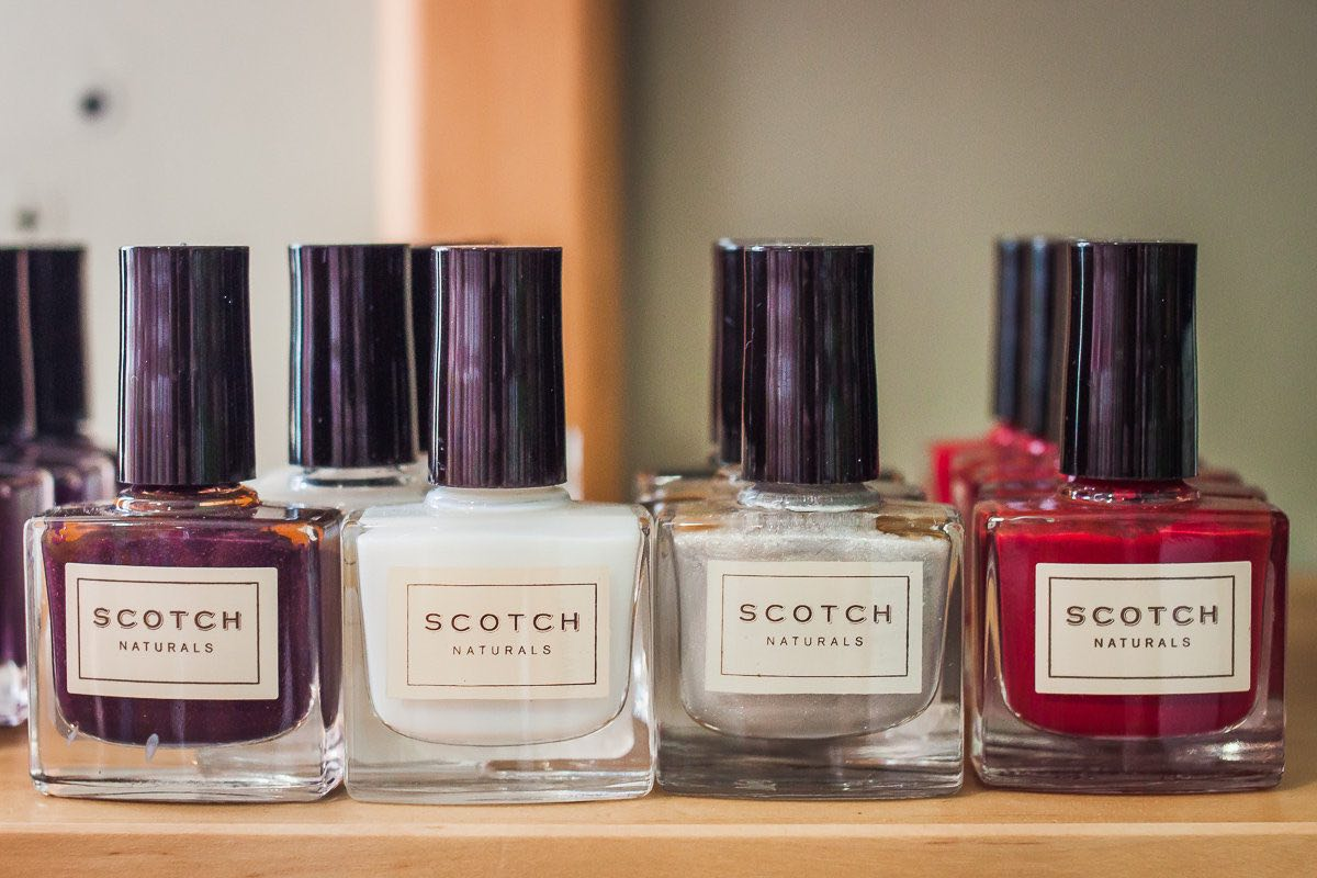 Shelf Full of Scotch Naturals Nail Polish at Granola Babies at SoCo in Costa Mesa, California