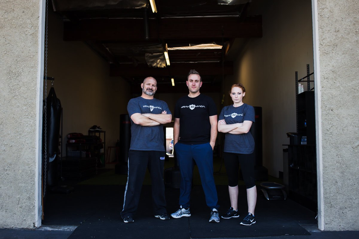 Krav Maga XD Instructor, Justin Blankenship; Founder, Joey Karam; Instructor, Brooke Evans. // photo: @byoungforeverphotog