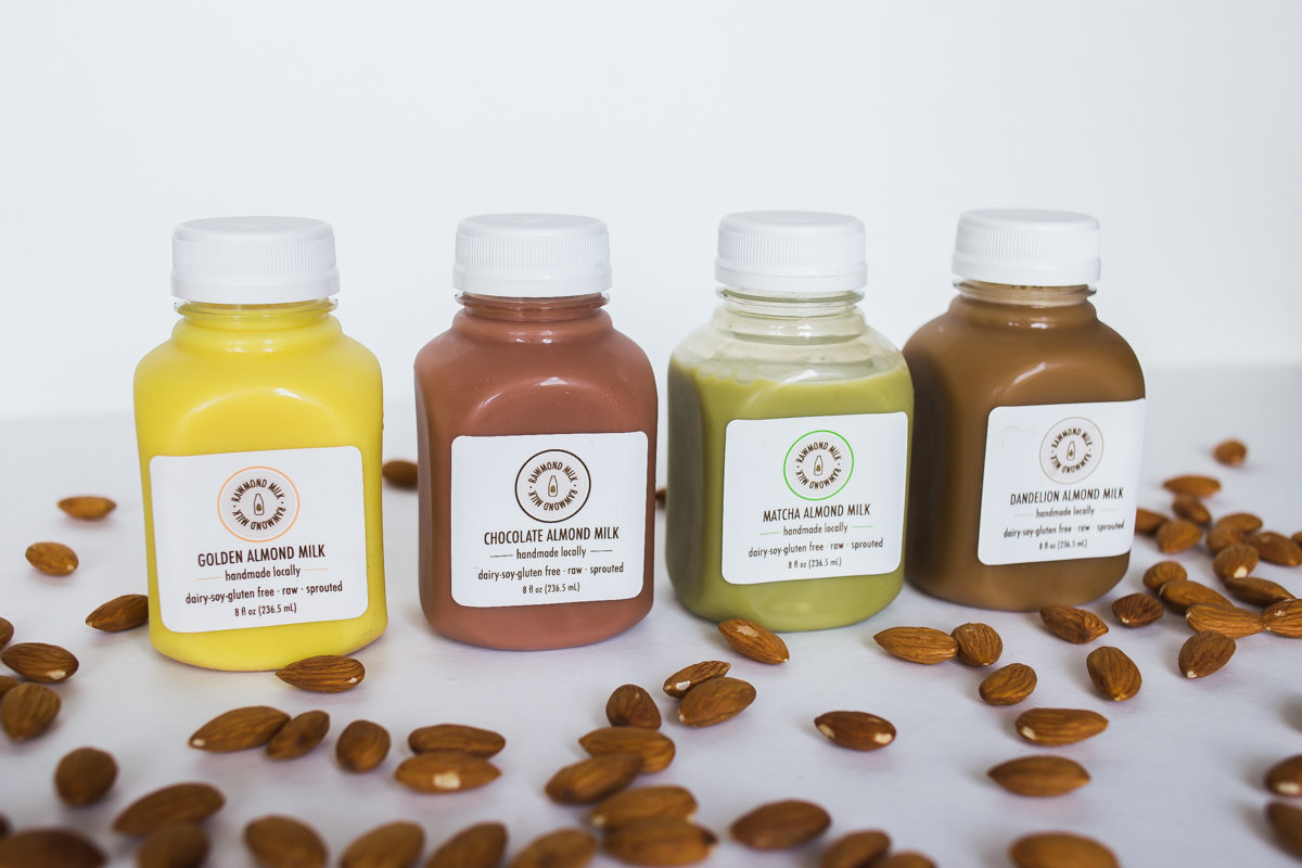 An almond milk for every palate: Costa Mesa's Rawmond Milk sells a wide variety of raw, organic flavors: like unsweetened, turmeric, matcha...and more!