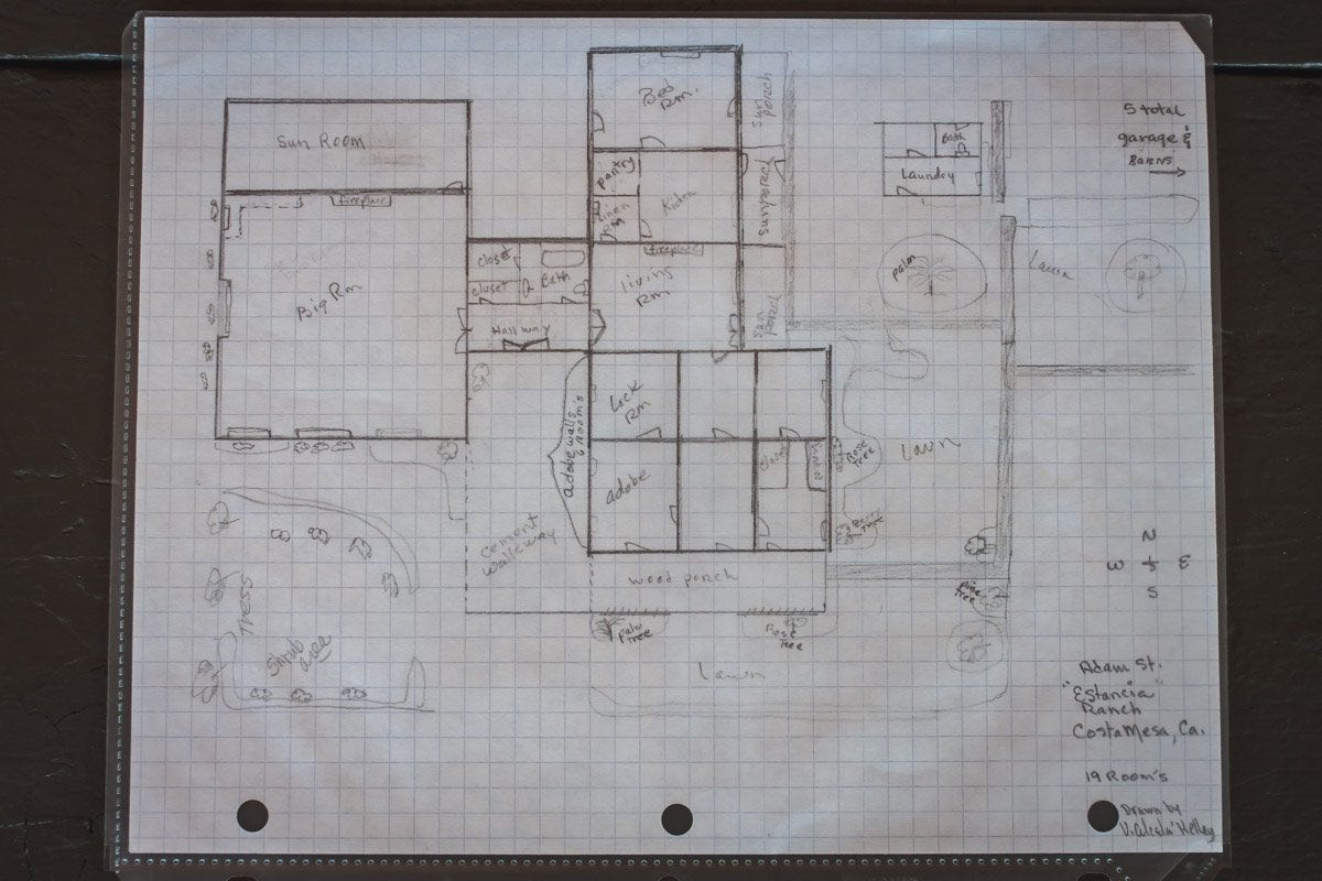 A Hand-Drawn Schematic, By Vicki Alcala-Kelley, of the Segerstrom's Estancia Ranch House