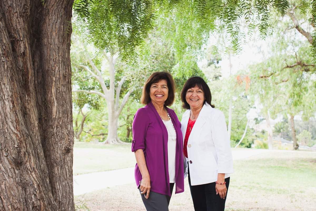 Sisters Vicki Alcala-Kelley and Lynn Alcala at the Estancia / Diego Sepulveda Adobe in Costa Mesa, California
