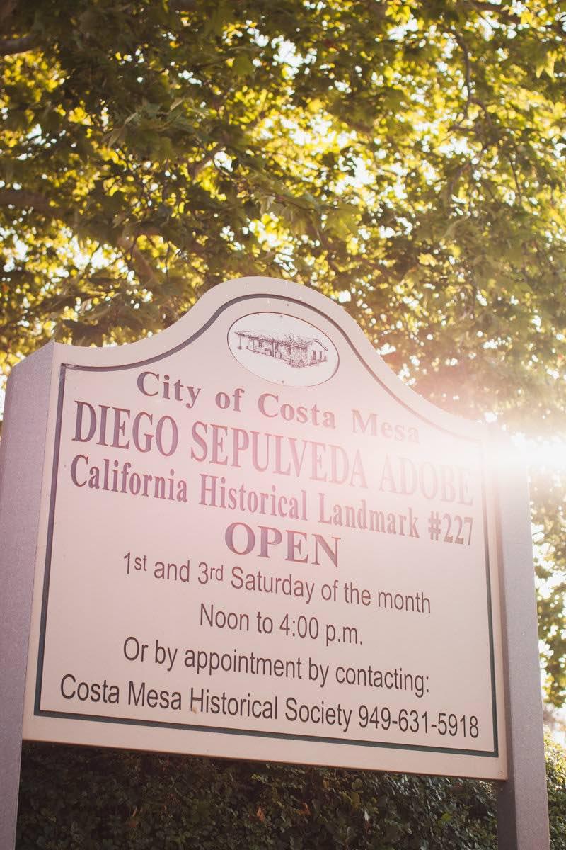 City of Costa Mesa Sign At Estancia Park For The Diego Sepulveda Adobe
