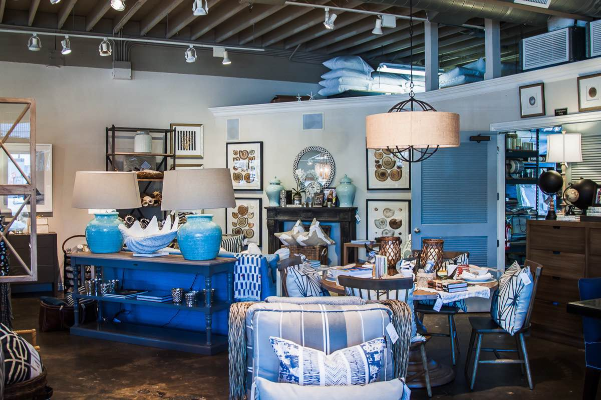 Home furnishings with Blue Accent Pieces at Gatehouse Home on 17th Street in Costa Mesa