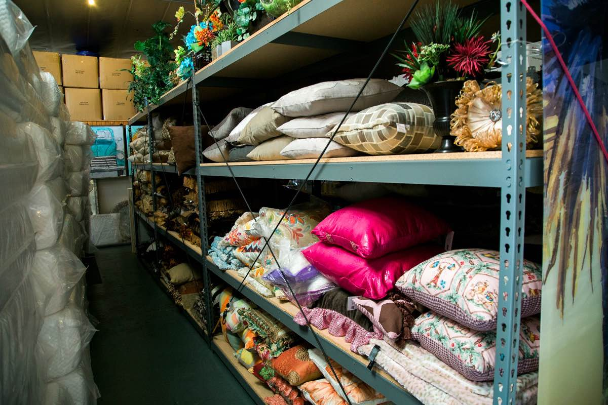 Pillows, Home Goods and Accessories Stacked High as the Eye Can See at the Furnishing Hope Warehouse