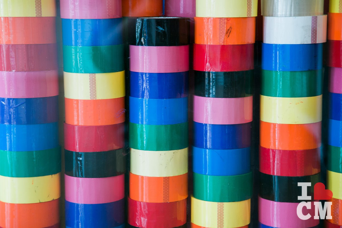 Rack of Colorful Packing Tape at Boxfli in Costa Mesa, California