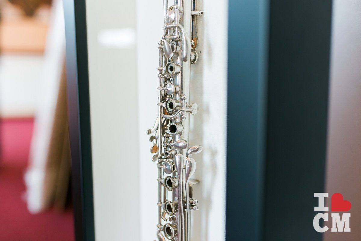 A Framed, Silver Clarinet at Best Framing in Costa Mesa, California