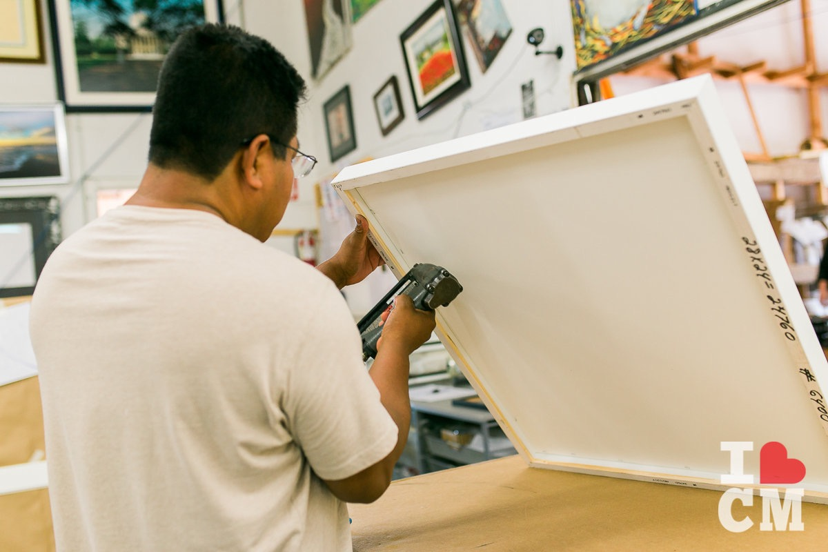 Stapling Canvas to Frame at Best Framing In Westside Costa Mesa, California