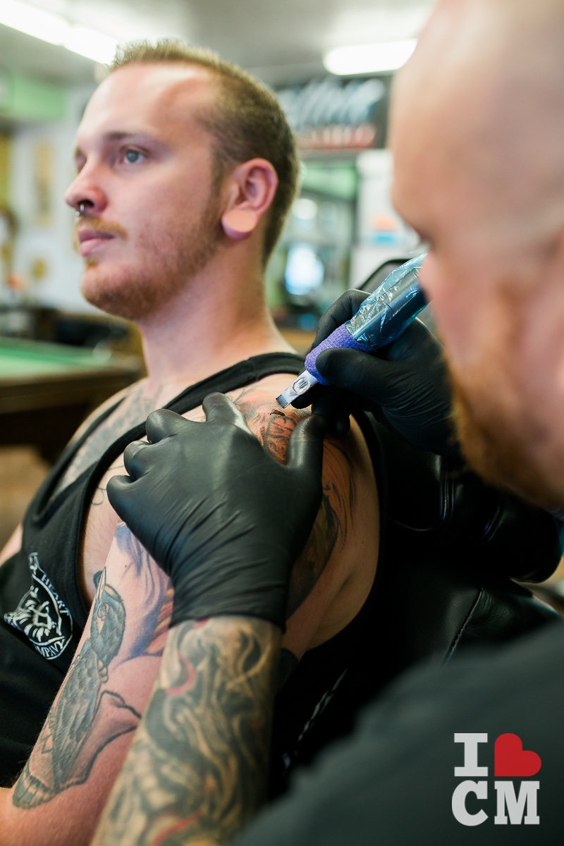 Tattoo Artist And Piercing Expert, Dakota Gilbert, gets inked by Jason Lewis at Blue Collar Tattoo in Costa Mesa