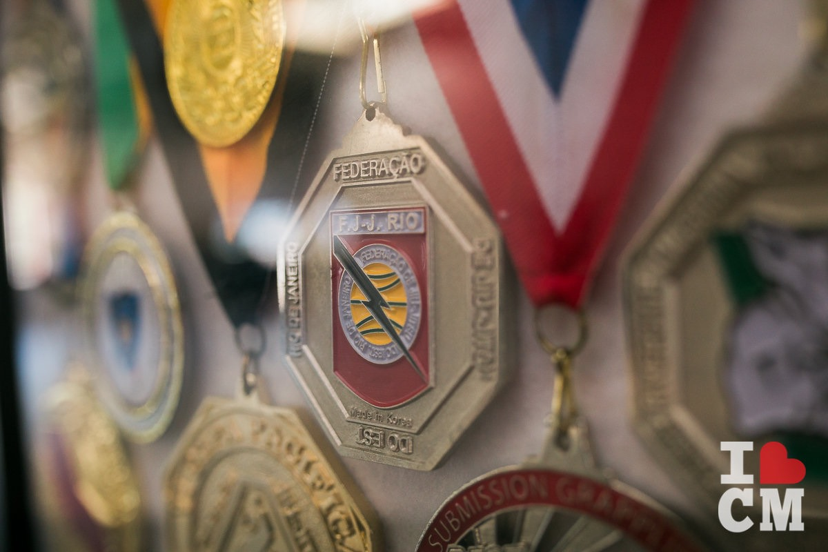 A Trophy Case Full of Medals Hangs On The Wall At Gracie Barra Costa Mesa in Orange County, California