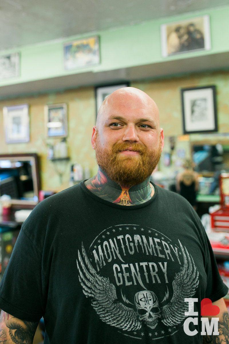 Tattoo Artist, Jason Lewis, at Blue Collar Tattoo, Costa Mesa in Orange County, California