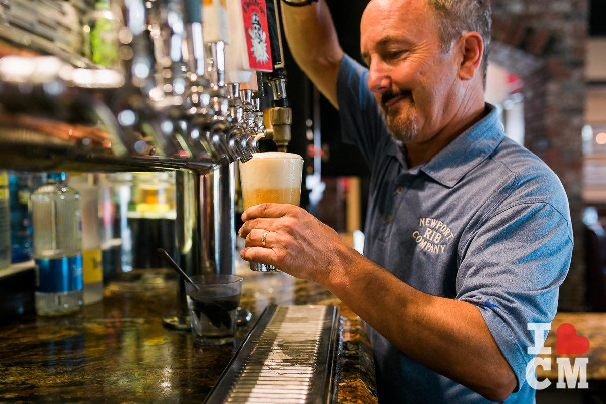 John Ursini Pours a Beer at Newport Rib Company, Costa Mesa in Orange County, California