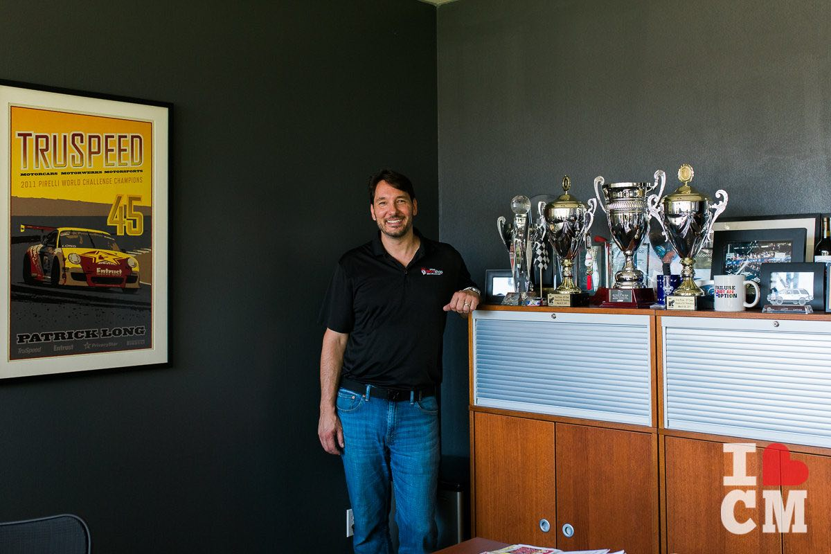 Racing Trophies and TruSpeed Poster in the office of Steve Trindade at Urband Workshop in Costa Mesa, California
