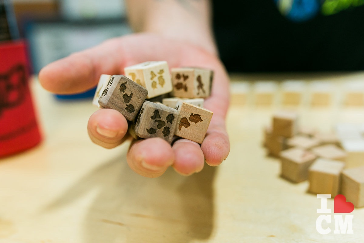 Etched Wooden Dice at Urban Workshop, Costa Mesa in Orange County, California