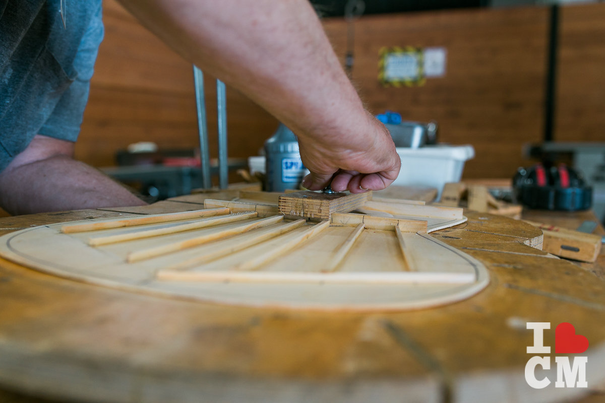 A Member Makes A Handmade Guitar At Urban Workshop, Costa Mesa in Orange County, California