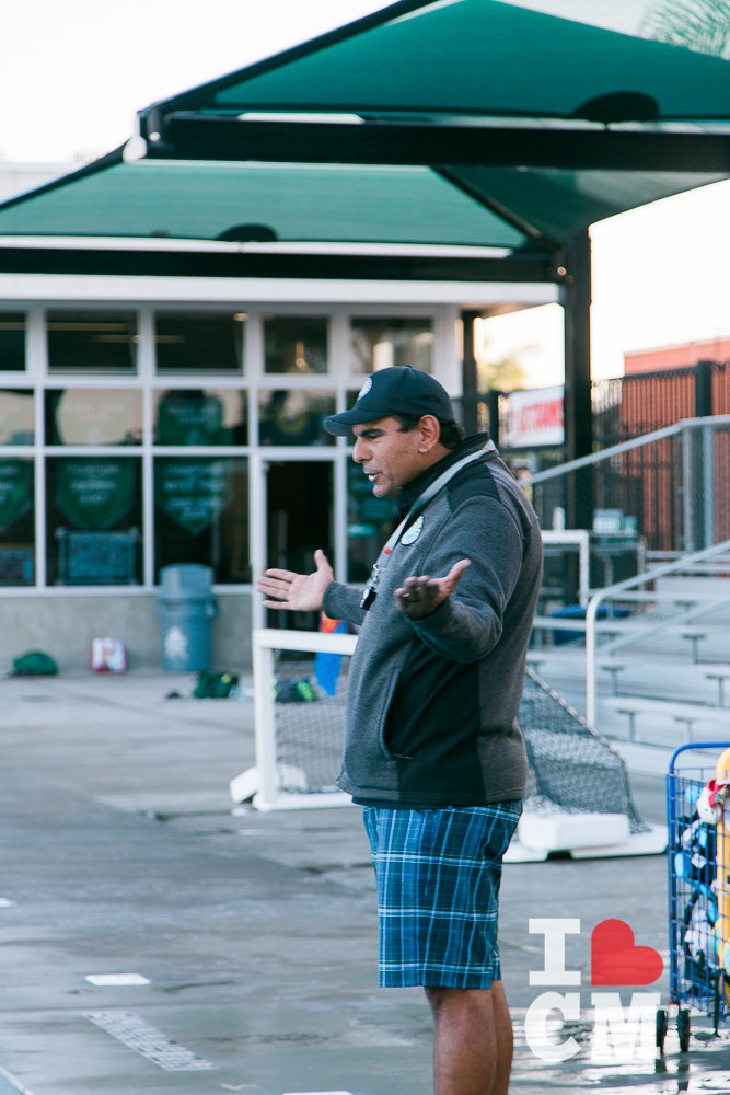 Coach Jose De La Jara Makes The Call, Poolside, at Costa Mesa Aquatics Club (CMAC) in Orange County, California