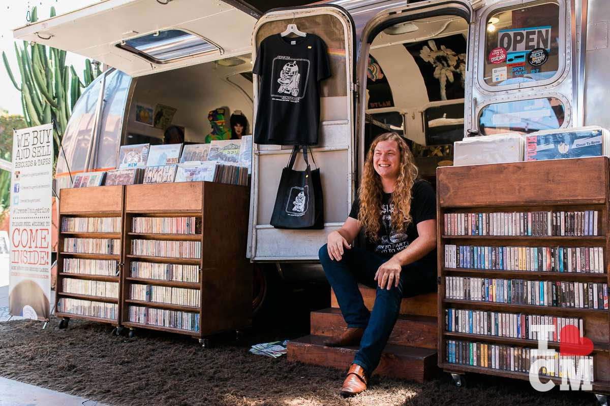 Owner Parker Macy at his airstream record shop, Creme Tangerine Records, at The Lab Anti-Mall in Costa Mesa