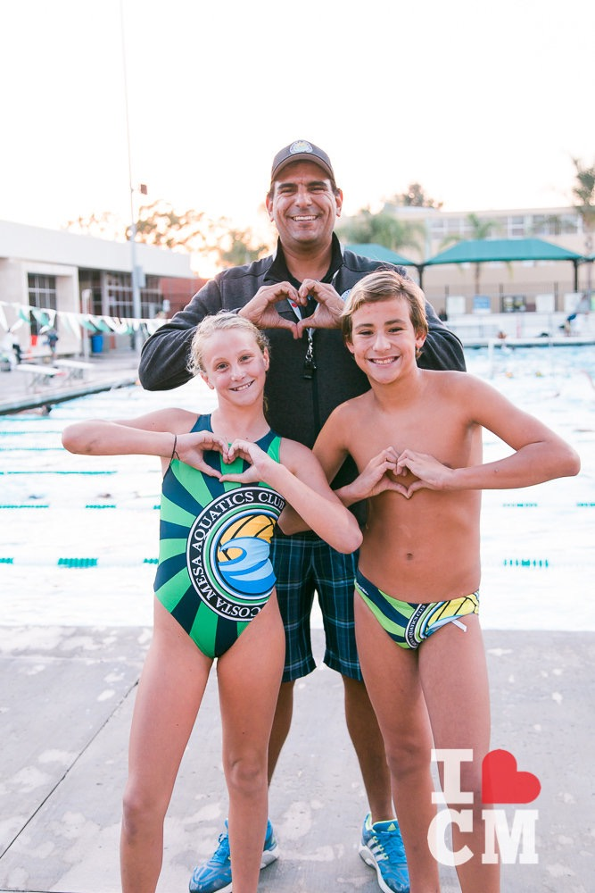 Coach Jose De La Jara - along with his CMAC swimmers and water polo players, heart Costa Mesa