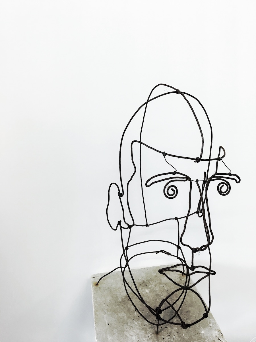 Wired: A wire-frame bust sculpture at Coast Coin and Collectibles in Eastside Costa Mesa