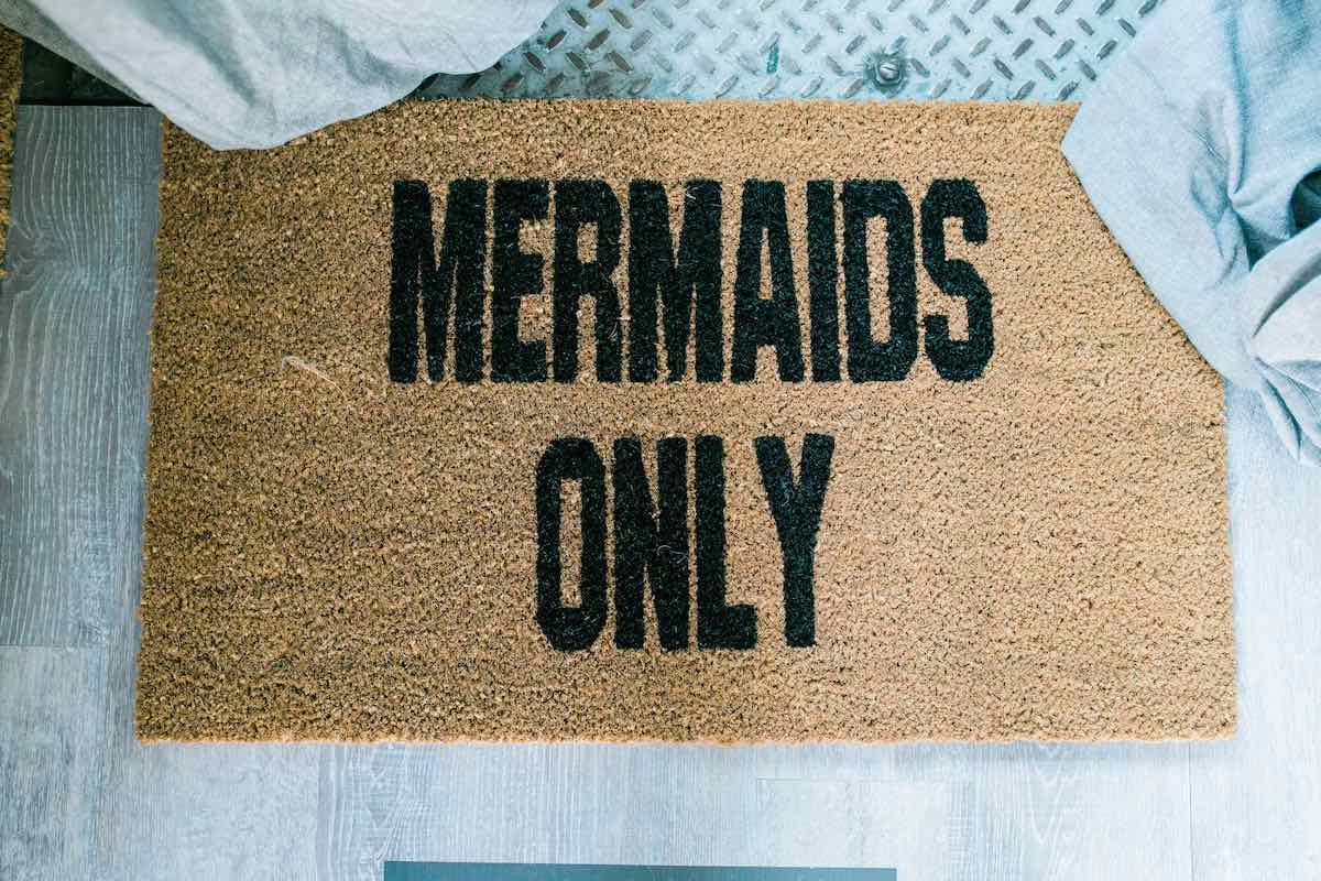 Whimsical Welcome Home: %22Mermaids Only%22 Doormat (Nickel + Birch // Costa Mesa, California)