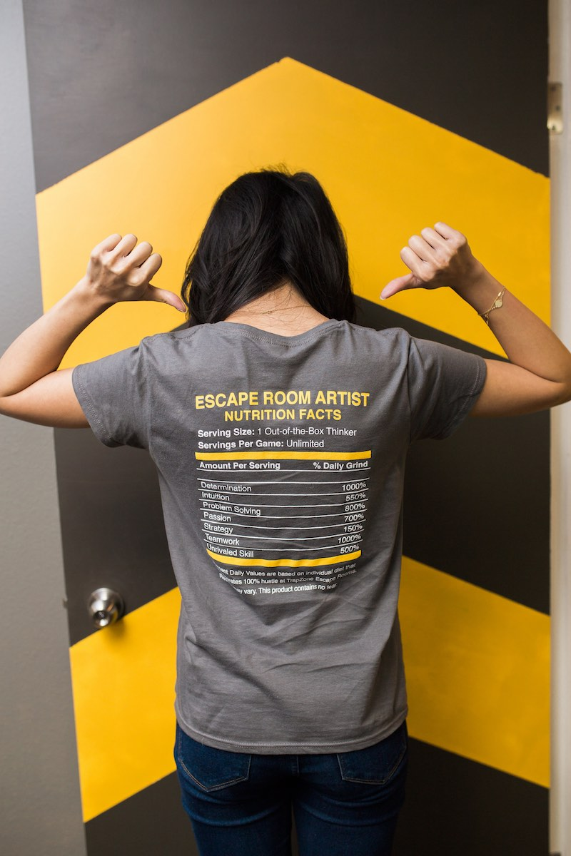 Julie Hom Showing Off Her Shirt at Trapzone Escape Rooms (Costa Mesa, California)
