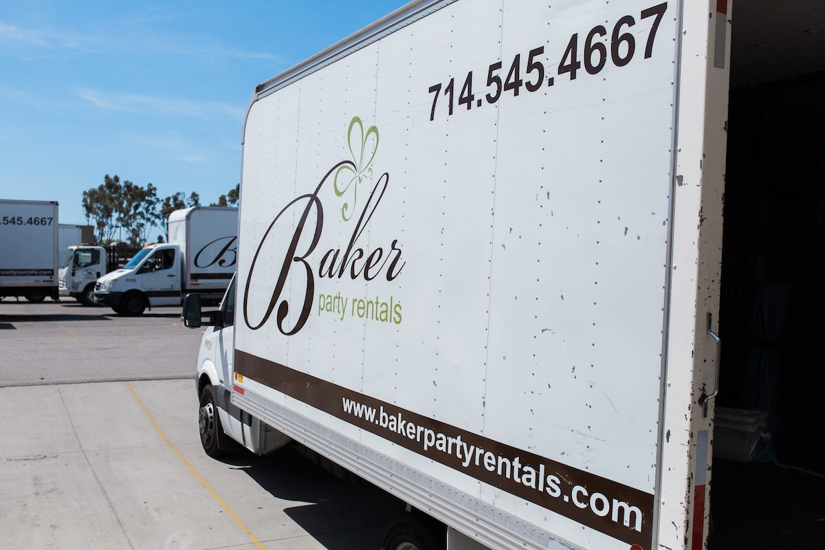 Baker Party Rentals Truck Loading Up For Deliveries (Costa Mesa, California)