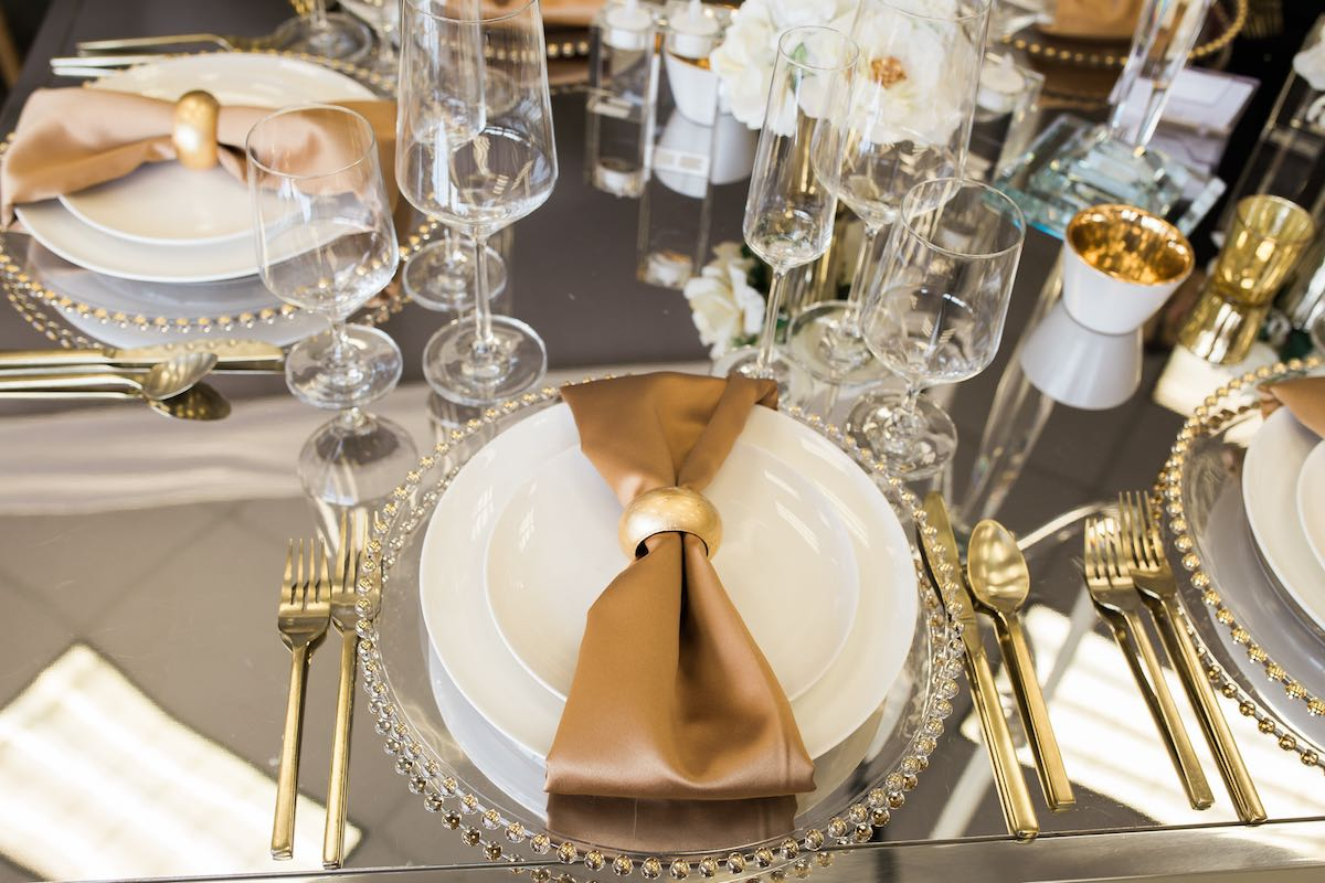 Metallic Gold Table Setting at the Baker Party Rentals Showroom (Costa Mesa, California)