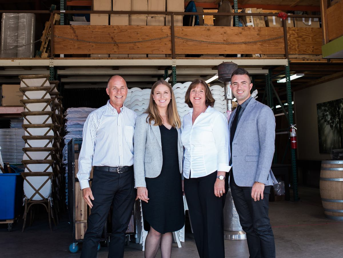 Baker Party Rentals: Mantyla Family in their warehouse in Costa Mesa, California