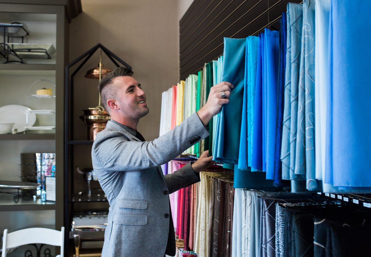 Michael Mantyla Selects Table Linens at Baker Party Rentals (Costa Mesa, California)
