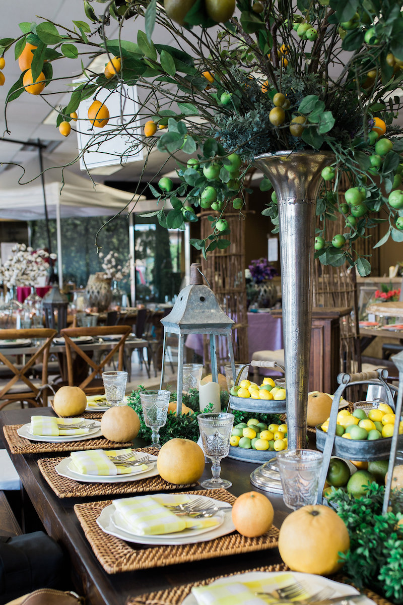 Tropical Tablescape in the Baker Party Rentals Showroom (Costa Mesa, CA)