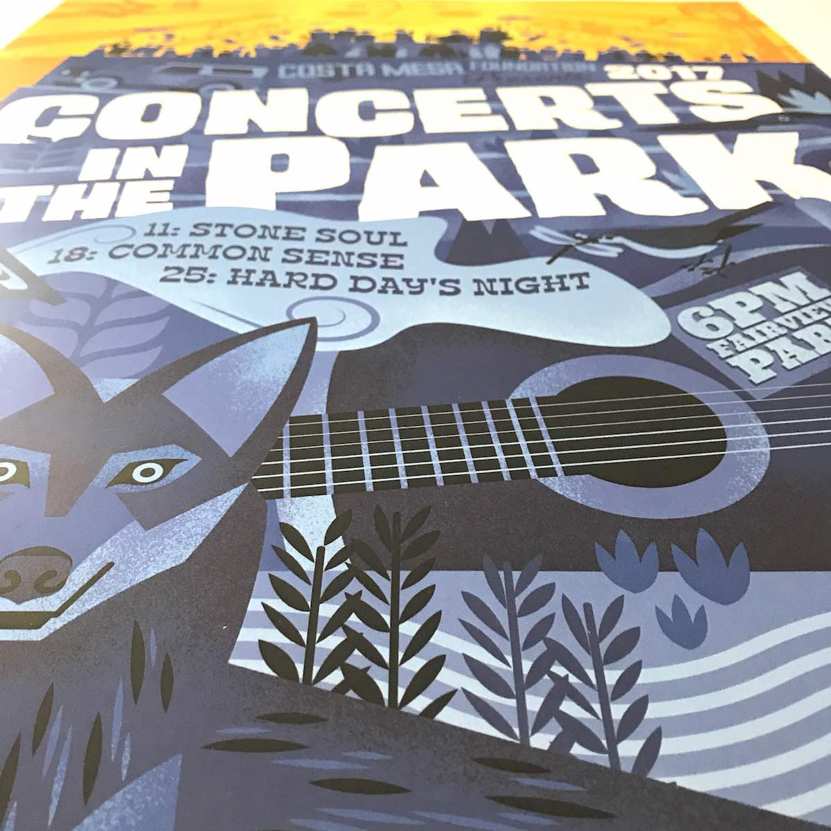 Design Is In The Details: Beautiful Layers, Shading and Use of Contrast Make the 2017 Costa Mesa Concerts In The Park Poster a Real Work of Art