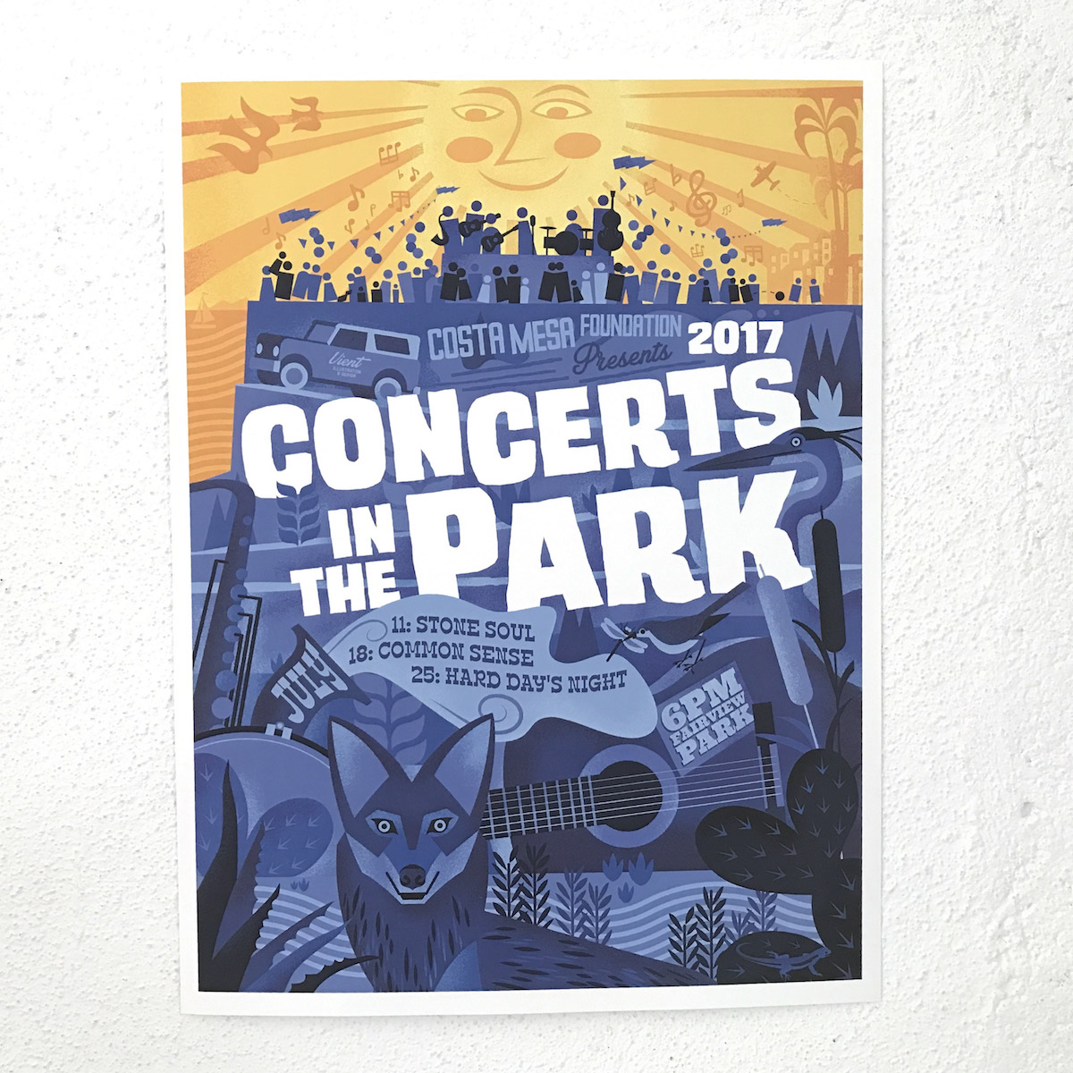 2017 Costa Mesa Concerts In The Park Poster Artwork By Artist Robby Vient of Vient Studios
