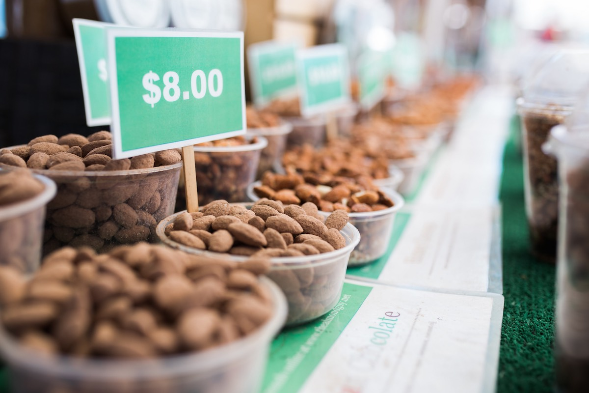 Go Nuts: Fresh Almonds at SOCO Farmers' Market at South Coast Collection, Saturdays in Costa Mesa, California