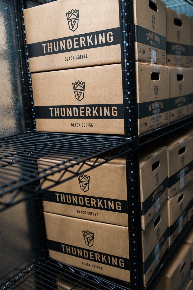 Cases and Cases of Cold Brew at Thunderking Brewing Company, Costa Mesa California