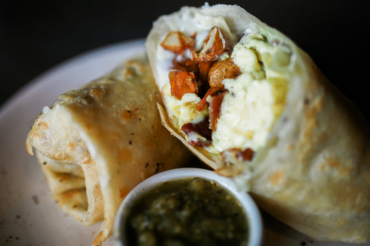 Breakfast Burrito with Egg, Bacon, Potatoes and Salsa Verde at Thunderking Coffee Bar (SOCIAL Costa Mesa)