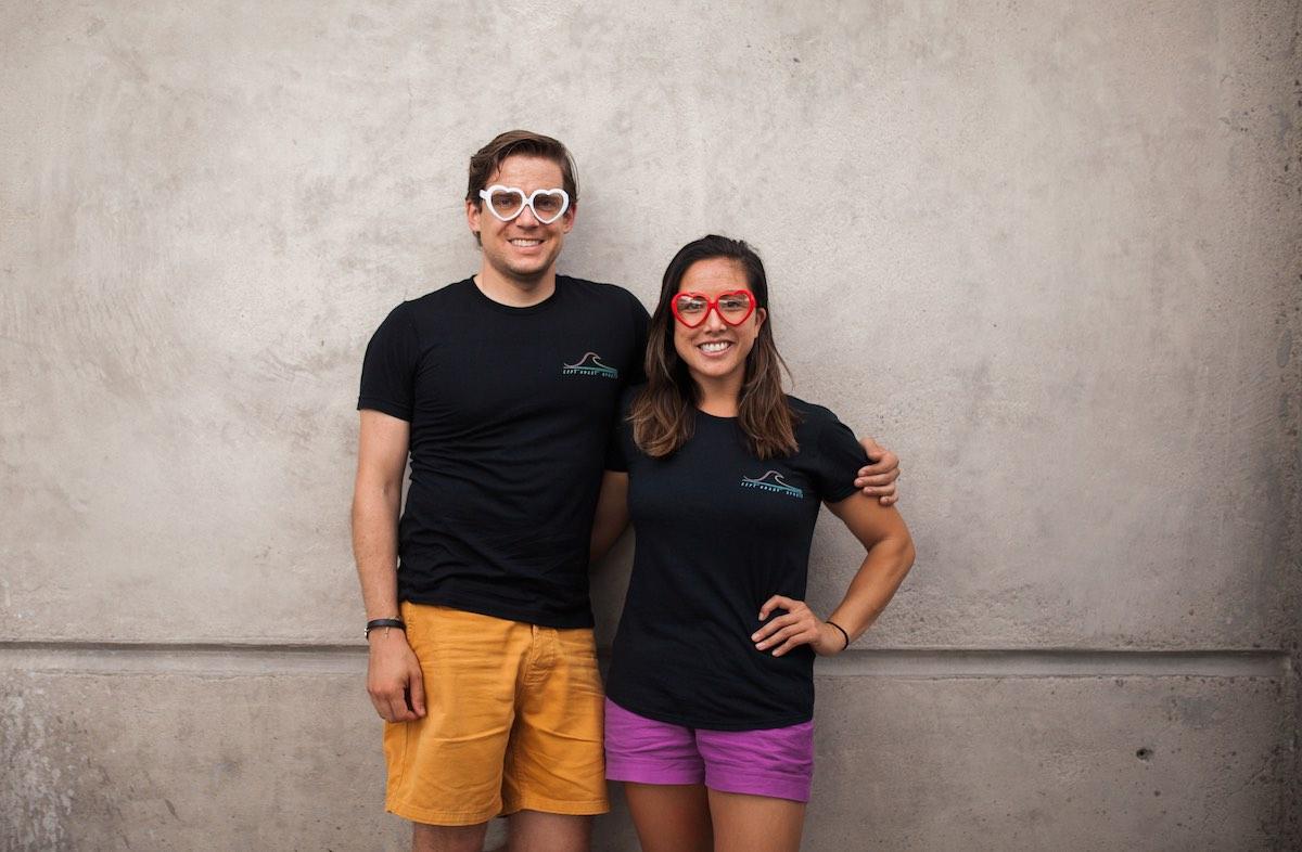 Rachel Wong and Corey Walker of Left Coast Sports at Gunwhale Coastal Ales in Costa Mesa, California