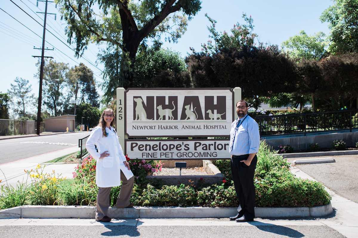 Dr. Sarah Wind and Dr. Kevin Ashbran, Veterinarians and Co-Owners of Newport Harbor Animal Hospital, Costa Mesa, California