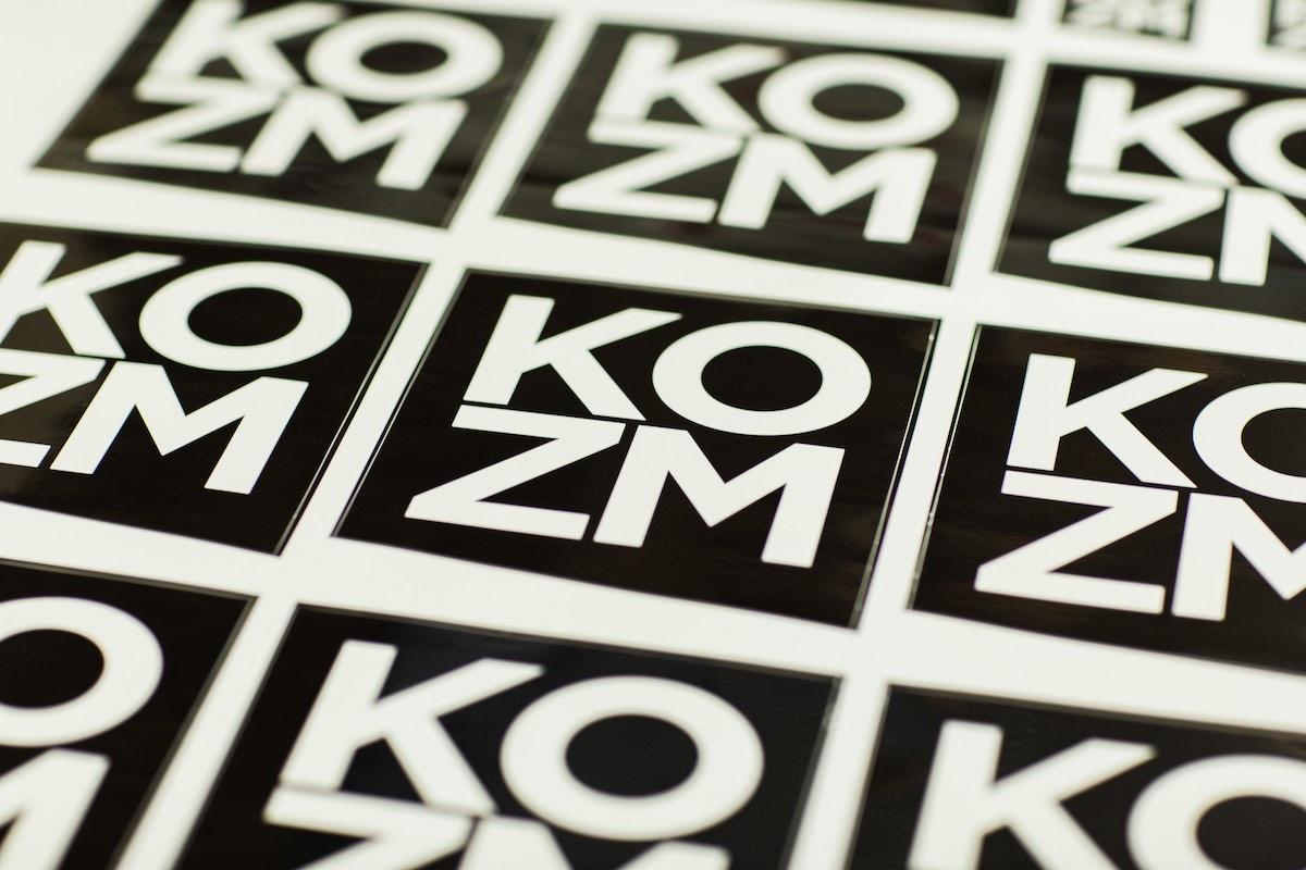 KOZM Stickers at Inkgenda Printing, Westside Costa Mesa, California