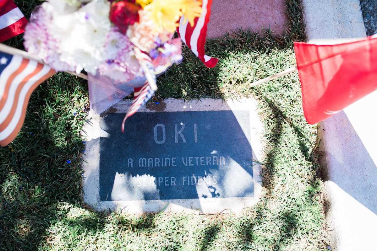 Gravesite of Oki aka Rex a decorated WWII war dog care of Robert Harr at Newport Harbor Animal Hospital in Costa Mesa