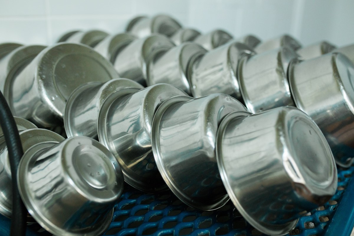 Food Dishes in the Drying Rack at Newport Harbor Animal Hospital in Costa Mesa, California