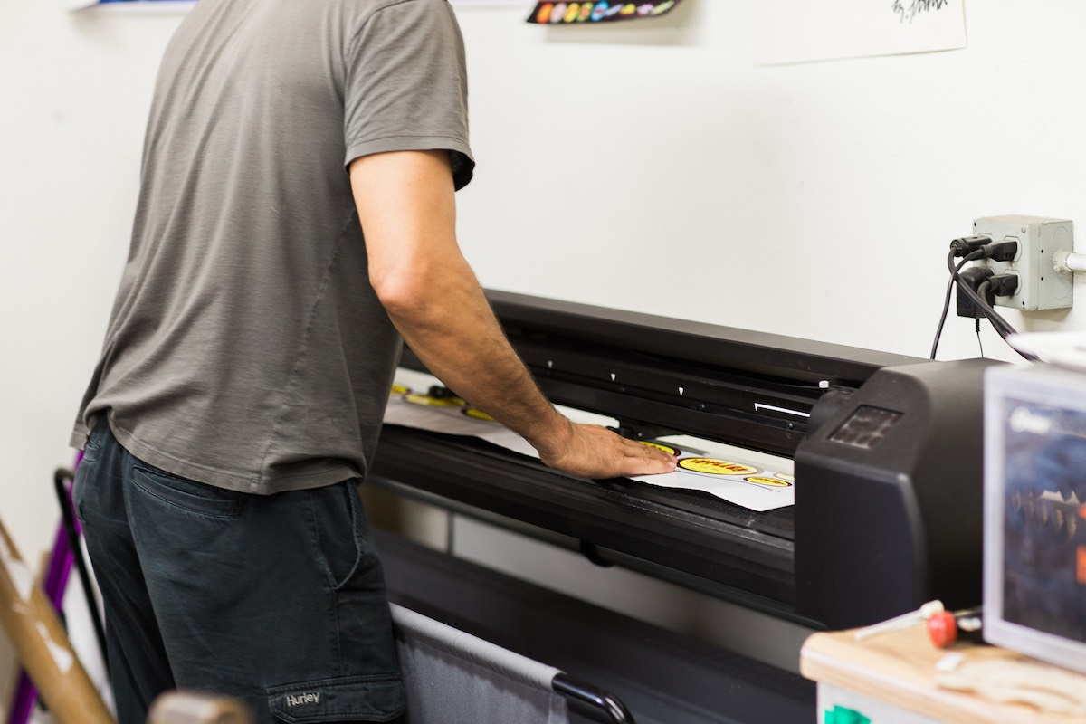 Feeding The Printer at Inkgenda, Westside Costa Mesa, California