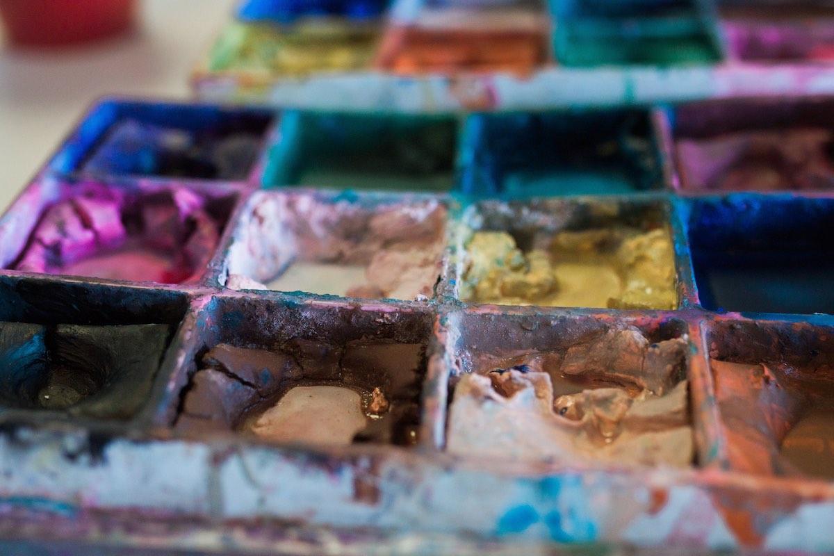 A Colorful Palette of Paints at Lisa Albert Art Studio in Eastside Costa Mesa, California