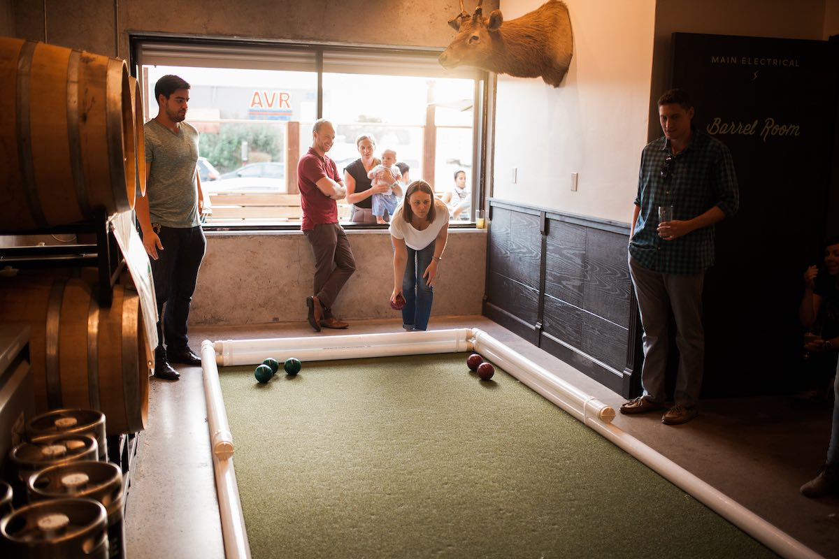 Throw Your Roll: Game of Bocce Ball with Left Coast Sports at Gunwhale Ales in Costa Mesa, California