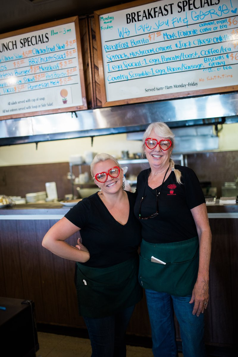 Servers, Brittany Patch and Sandra Cotten, at Dick Church's Restaurant in Costa Mesa, California