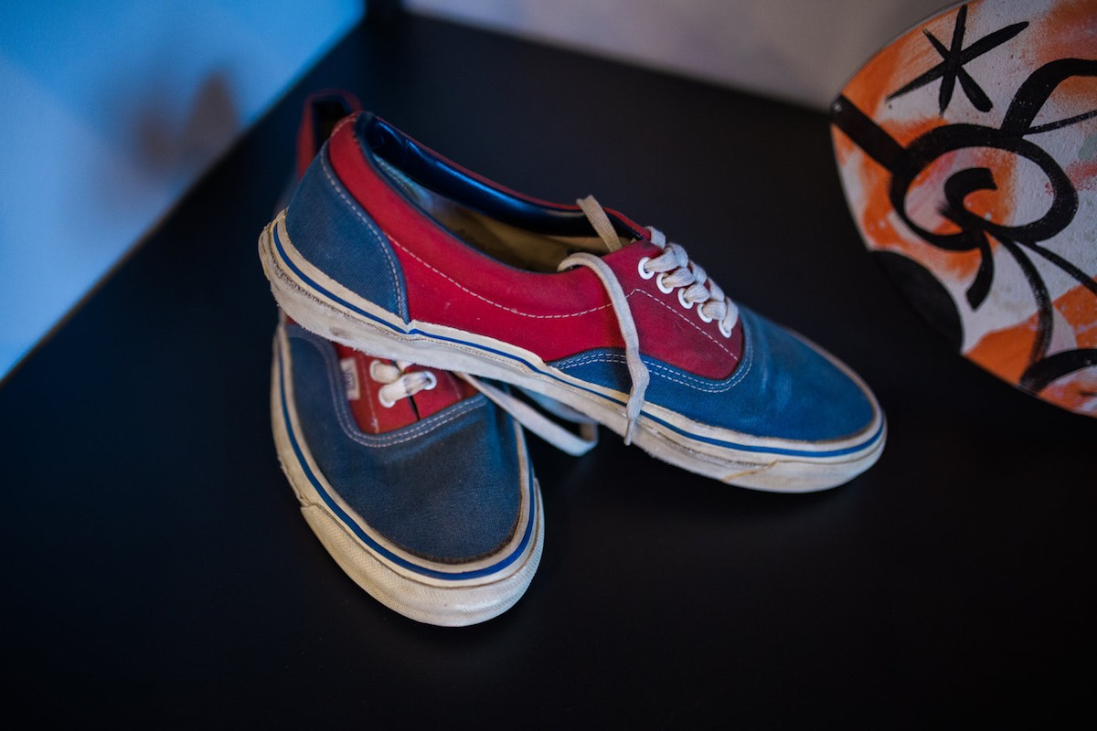 6862ca97fc904d Red and Blue Retro Vans on display at Vans HQ in Costa Mesa