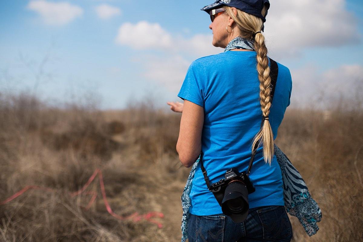 Photographer Sharon Hurd walks down a Nature Trail at Fairview Park in Westside Costa Mesa, California